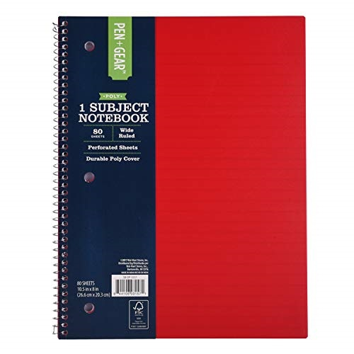 "1-subject spiral notebook, 80 sheets, 8"" x 10.5"", wide ruled, w/2 inside pockets, poly cover, 3-hole punched (red)"