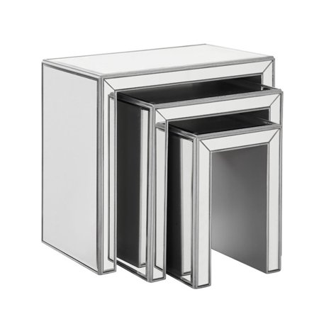 Beaumont Lane Mirrored 3 Piece Nesting Table (Mirrored Nesting Tables)