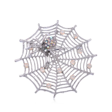 October Fall Spider Lily Spinning Web Crawling Crystal Rhinestone Brooch Pin ()