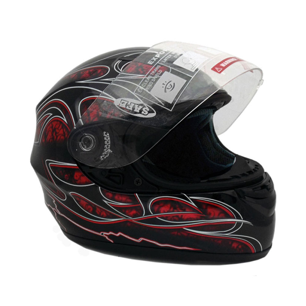 Motorcycle Full Face Helmet DOT Street Legal +2 Visors Comes with Clear Shield and Free Smoked Shield - TRIBAL RED (Large)