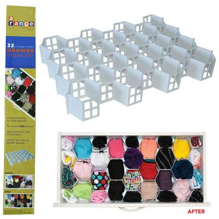 AllTopBargains 32 Section Foldable Undergarment Drawer Organizer Easy Sock Storage Holder New !