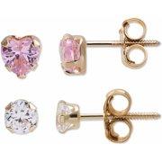 Girl's 14kt Gold CZ Stud Earrings Set
