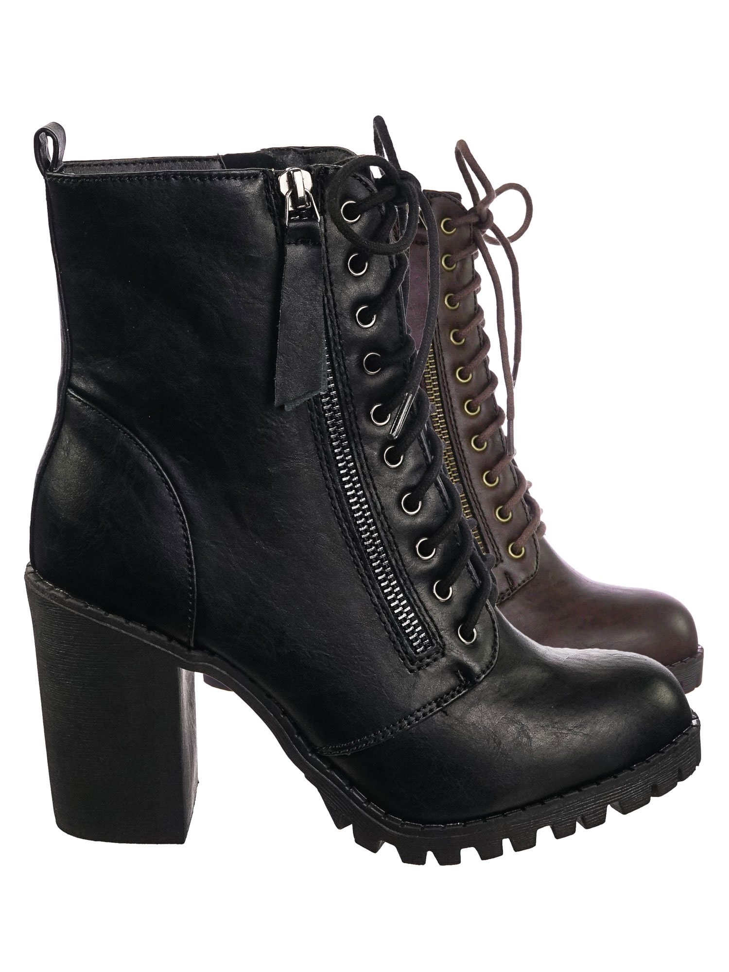 Malia By Soda, Mil. Lace Up Comb. Ankle Boot On Chunky Block Heel Lug Sole Bootie by Soda