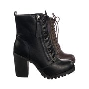 Malia by Soda, Mil. Lace Up Comb. Ankle Boot On Chunky Block Heel Lug Sole Bootie