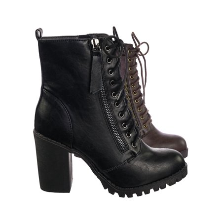 Combat Boots Girl (Malia by Soda, Military Lace Up Combat Ankle Boot On Chunky Block Heel Lug Sole)