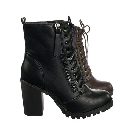 Malia by Soda, Military Lace Up Combat Ankle Boot On Chunky Block Heel Lug Sole Bootie