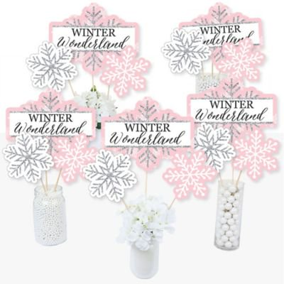 Winter Themed Centerpiece Ideas (Pink Winter Wonderland - Holiday Snowflake Party or Baby Shower Letter Banner Decoration - 36 Banner)