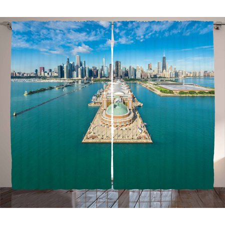 Pier 1 Bedroom - Chicago Skyline Curtains 2 Panels Set, Aerial Panorama of Navy Pier Marine Metropolis Big City Silhouette View, Window Drapes for Living Room Bedroom, 108W X 108L Inches, Multicolor, by Ambesonne