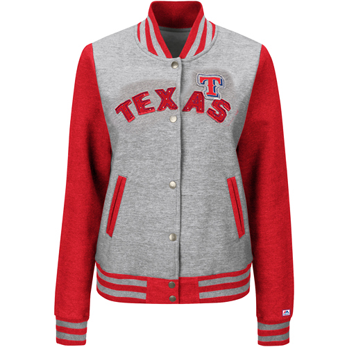 Texas Rangers Majestic Women's Stolen Bases Jacket - Heathered Gray/Red