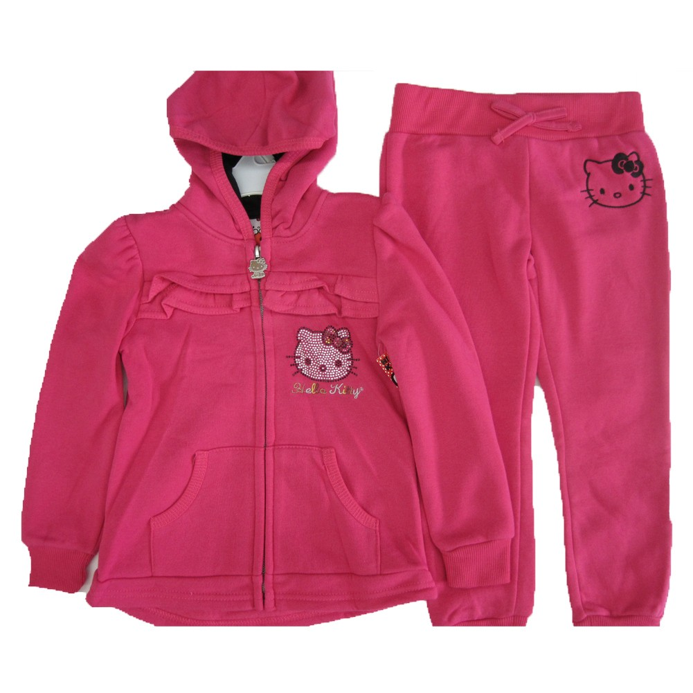 Hello Kitty Little Girls Pink Studded Face Ruffle Zipper Hooded 2 Pc Pants Set 4-6X