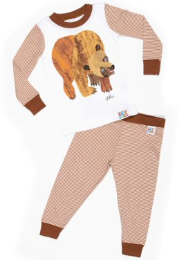 Eric Carle Baby toddler boy or girl unisex brown bear tight fit pajamas 2pc set