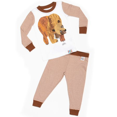 Baby Toddler Boy or Girl Unisex Brown Bear Tight Fit Pajamas 2pc Set (Pikachu Girl Or Boy)
