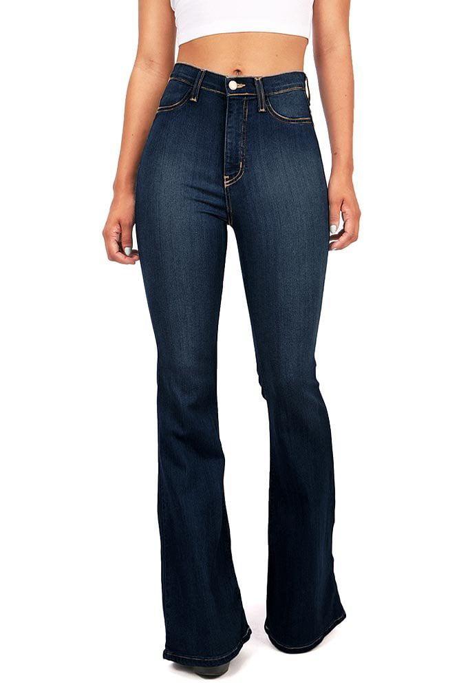 Vibrant Jeans Vibrant Junior Bell Bottom High Waisted Stretch Jeans Walmart Com Walmart Com
