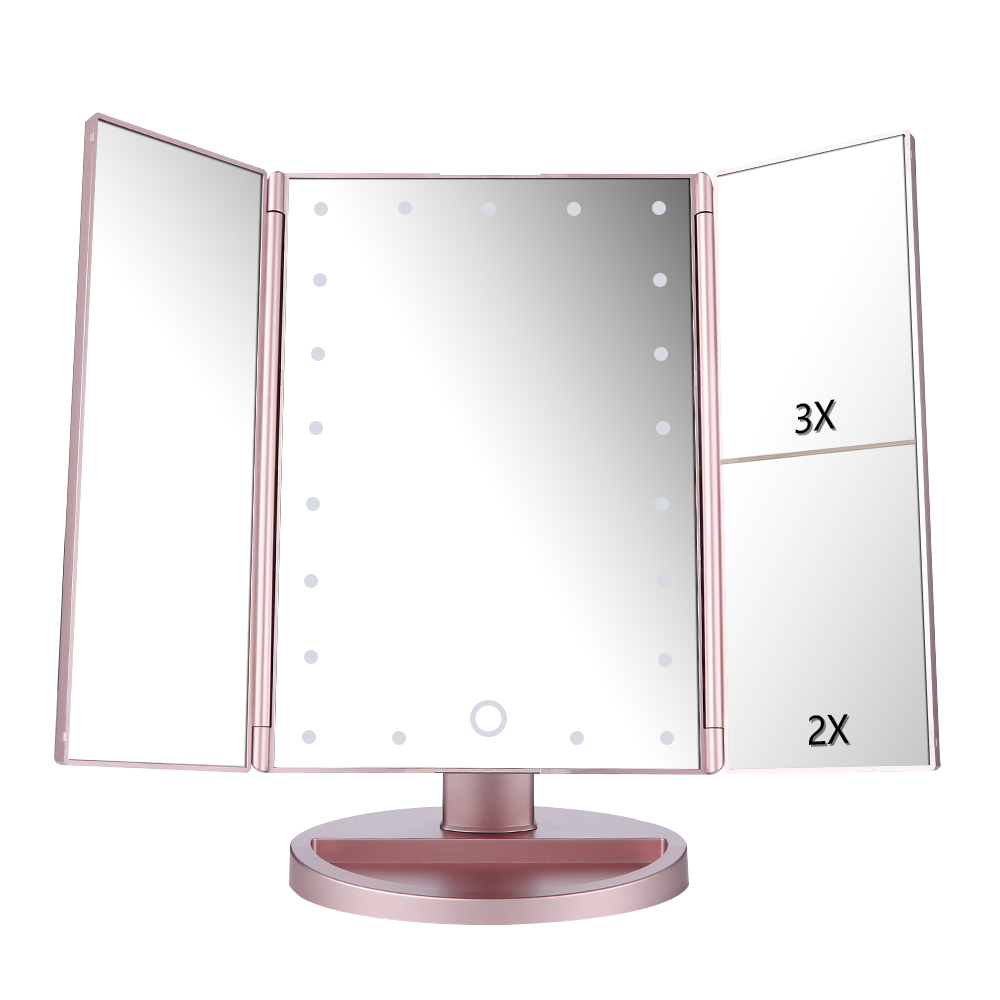 Easehold Lighted Vanity Mirror Magnifiers Tri-Fold Three Panel 21Led Light 180 Degree Free