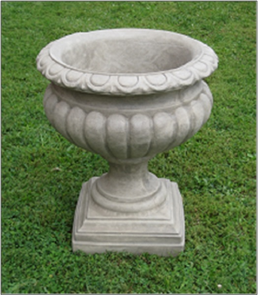 "Set of 2 Old Stone Finished Outdoor Garden Fluted Urn Planters 27"" by CC Outdoor Living"