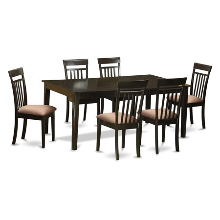 East West Furniture Henley 7 Piece Extension Dining Table Set With Capri Chairs