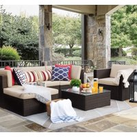 Walnew 6 Pieces Patio Furniture Set Outdoor Sectional Sofa Outdoor FurnitureBeige