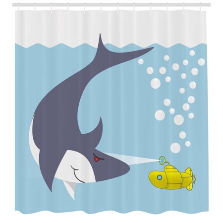 Yellow Submarine Shower Curtain, Shark with Vessel in Ocean Bubbles Under Sea Theme Animals Cartoon, Fabric Bathroom Set with Hooks, Blue Gray Yellow, by - Shark Themed Bathroom