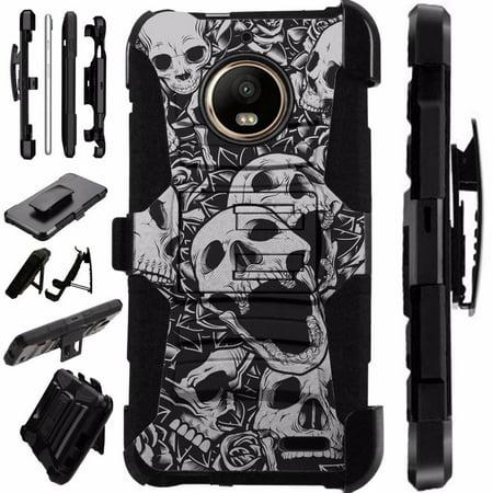 Skull Silicone Case (For Motorola Moto E4 Case / Moto E 4 Case Armor Hybrid Case Silicone Cover Kick Stand LuxGuard Holster (Skull)