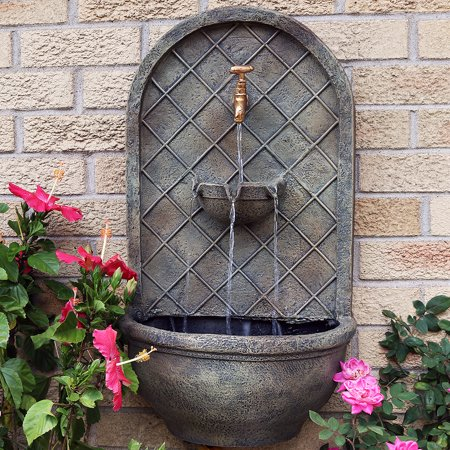 Sunnydaze Messina Outdoor Wall Mounted Water Fountain with Electric Submersible Pump, 26-Inch, Florentine Stone Finish ()