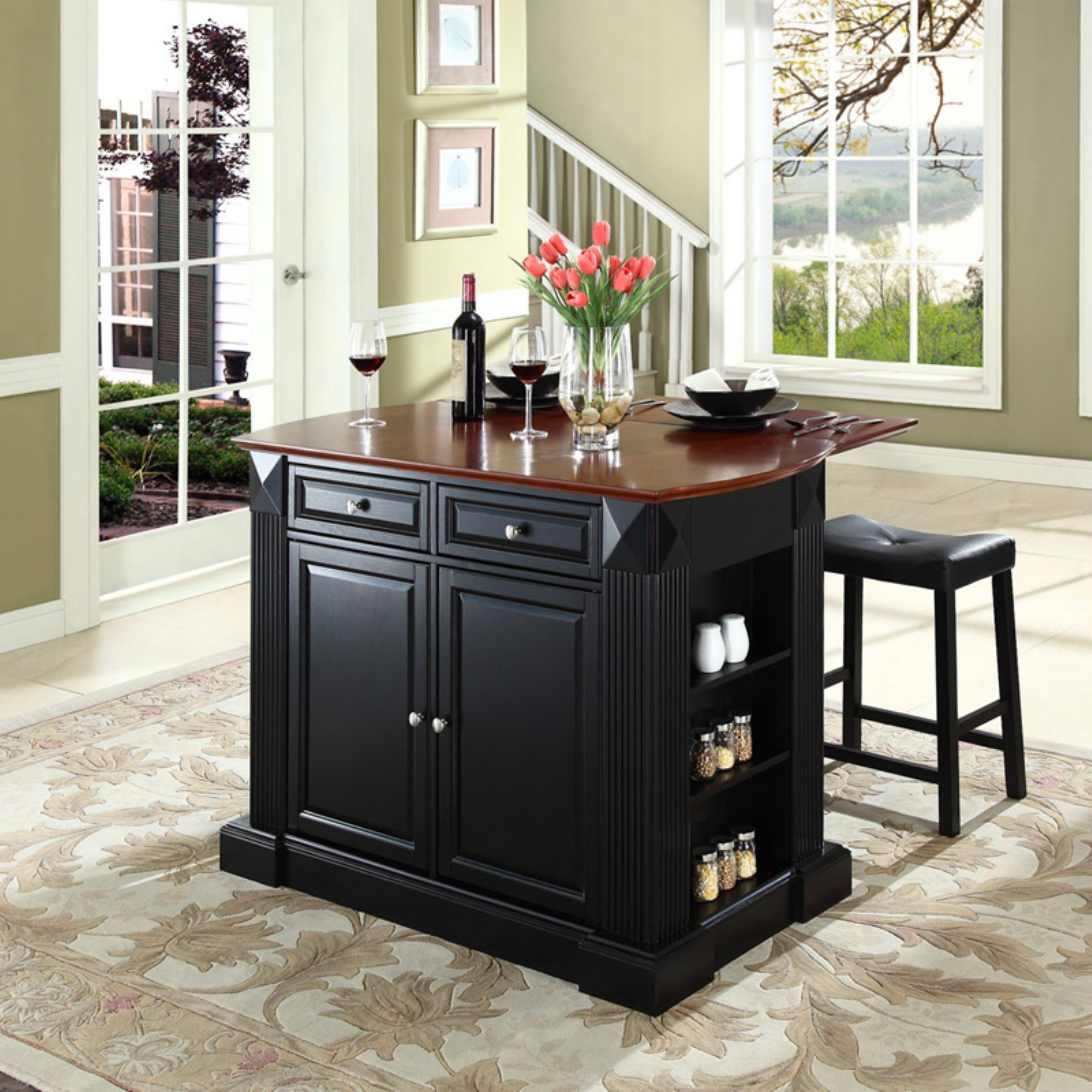 "Crosley Furniture Drop Leaf Breakfast Bar Top Kitchen Island with 24"" Upholstered Saddle Stools"