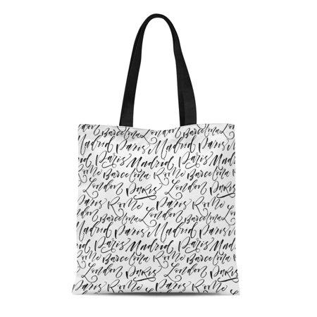 ASHLEIGH Canvas Tote Bag Names of Cities Paris Madrid Barcelona Rome London Ink Reusable Shoulder Grocery Shopping Bags (Barcelona Handbag)