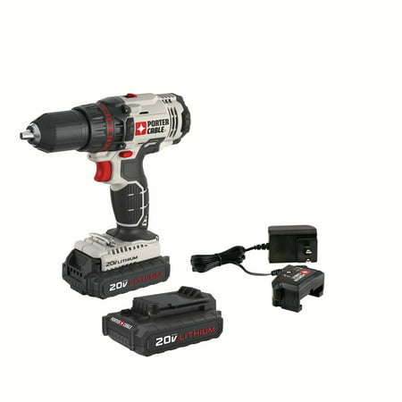 - PORTER CABLE 20-Volt Max 1/2-Inch Lithium-Ion Compact Cordless Drill, PCC601LB