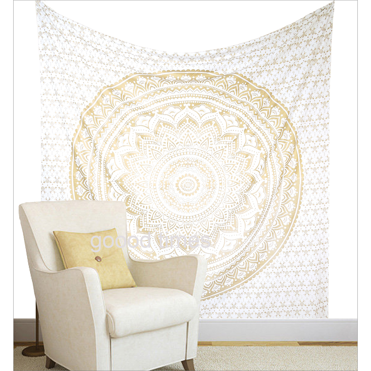 Off White Wall Decor Hippie Tapestries Bohemian Mandala Tapestry Wall Hanging Indian Gold... by Goood Times
