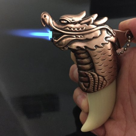Butane Jet Flame Cigar - Refillable Jet Flame Butane Torch Cigar Windproof Dragon Style Cigarette Lighter - One Lighter with Color Maybe Vary