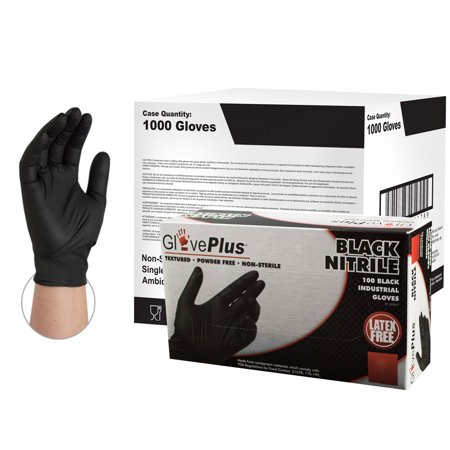 GlovePlus Nitrile Latex-Free Industrial Gloves, Large, Black, (Black Knight Best Gloves)