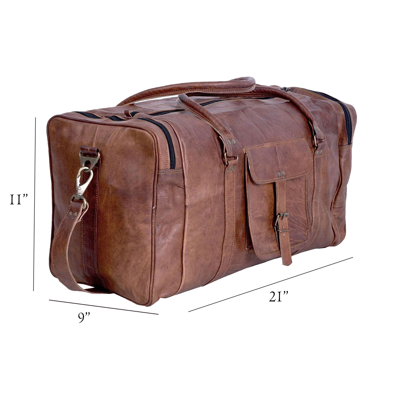 2020 Large Mens Black Leather Travel Gym Bag Weekend Overnight Duffle Handbag