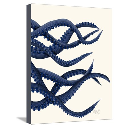 Giant Octopus Blue Triptych c Stretched Canvas Print Wall Art By Fab Funky (Giant Art Jar)