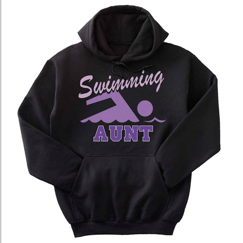 Personalized Sport Hoodie, Black with Purple Print, Large