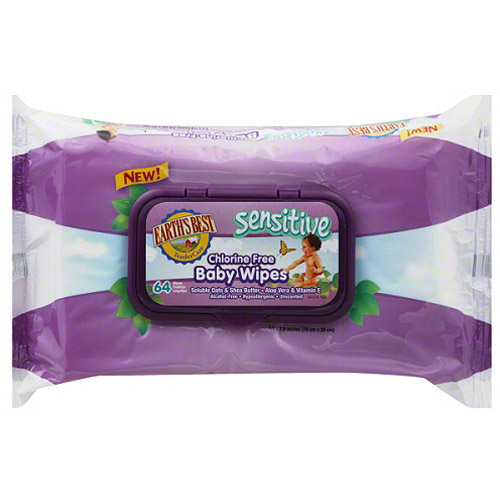 Earth's Best Sensitive Chlorine Free Baby Wipes, 64 sheets, (Pack of 12)