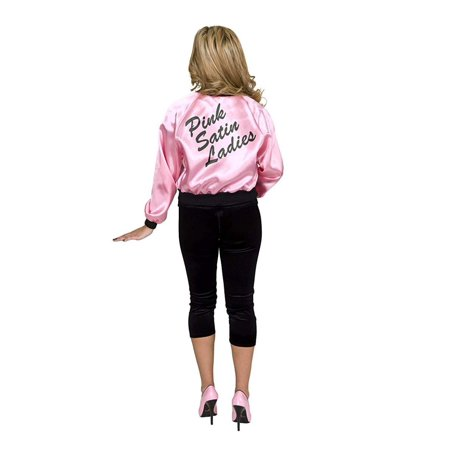 Pink Satin Ladies Women's Costume Jacket - Pink Ladies Grease Jacket