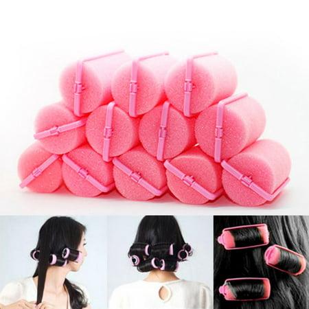 - 12pcs Magic Sponge Foam Cushion Hair Styling Rollers Curlers Twist Tool Salon Pink