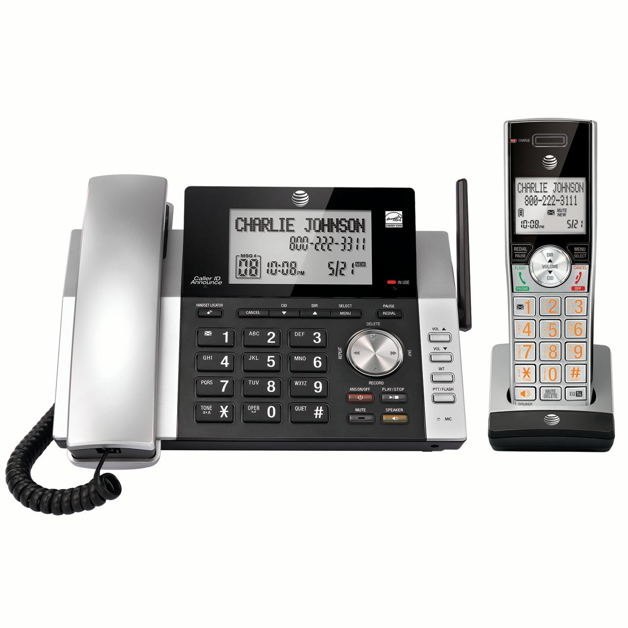 AT&T CL84115 DECT 6.0 Expandable Cordless Phone with Answering System and Caller ID, Silver/Black with 1 Handset