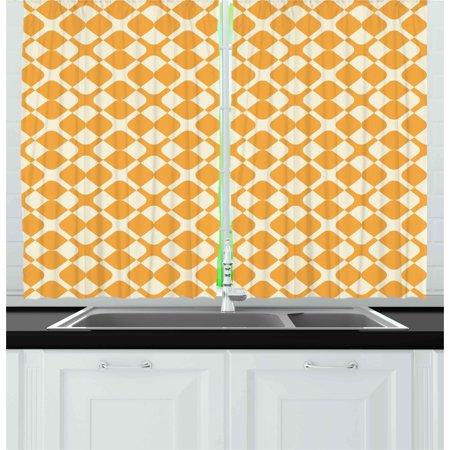 Kids Curtains 2 Panels Set, Abstract Diagonal Checked Tile Pattern with Different Shabby Colored Cross Lines, Window Drapes for Living Room Bedroom, 55W X 39L Inches, Marigold Cream, by Ambesonne ()