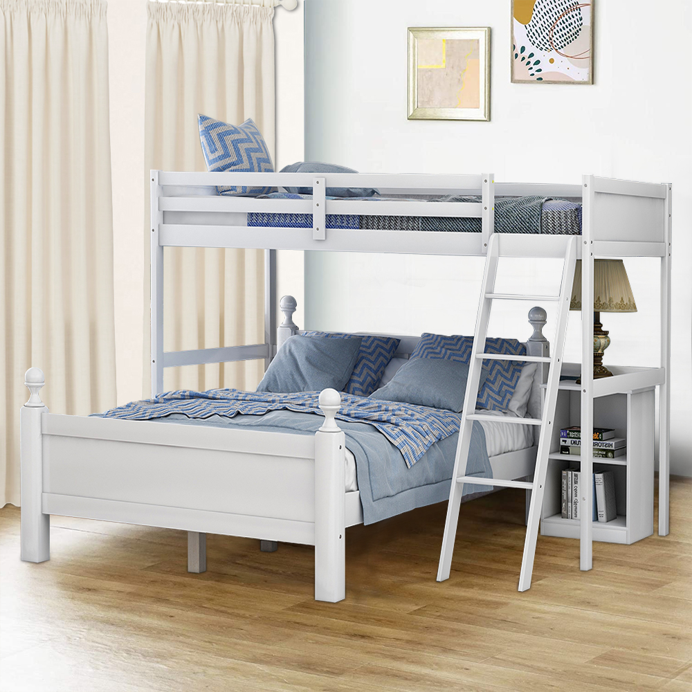 Home Use Bunk Bed Wooden Bunk Bed Frame With Cabinet Twin Over Full Bunk Bed With Ladders And Safety Guardrails Separable Bunk Bed For Kids Adults Heavy Duty Loft Bed For Bedroom