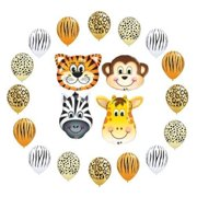 Safari Jungle Zoo Animals Jumbo Balloons Zebra, Tiger, Giraffe and Monkey 16pcs by Qualatex