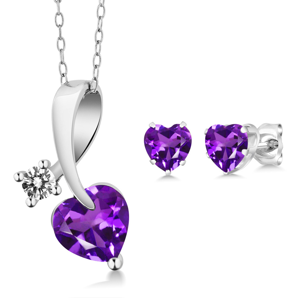 1.80 Ct Heart Shape Purple Amethyst and Diamond 925 Sterling Silver Pendant Earrings Set by