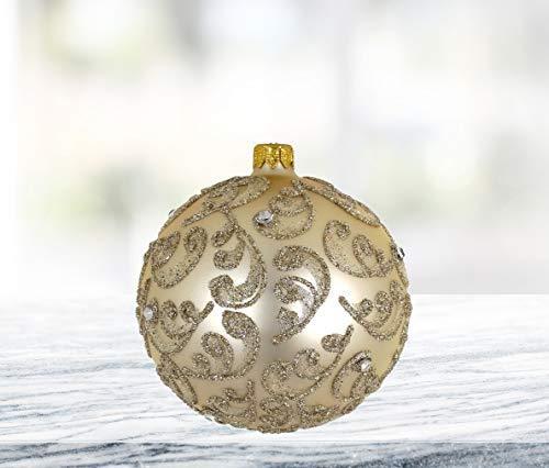 D Champagne Stones 4 Pc Round Holiday Ornament Set Handmade Mouthblown Glass Christmas Tree Decoration Walmart Com Walmart Com