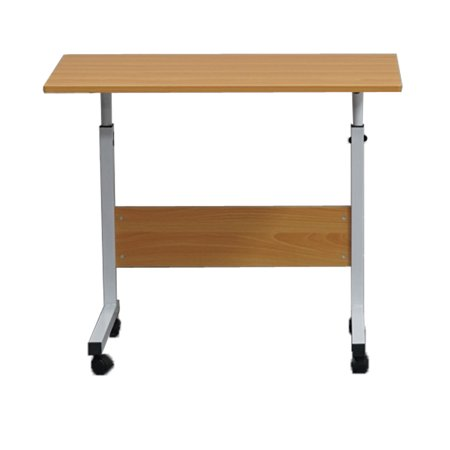 Folding Computer Desk Small Table With Wheels Removable E1 15mm Chipboard Steel Side Laptop Baffle Wood Color L