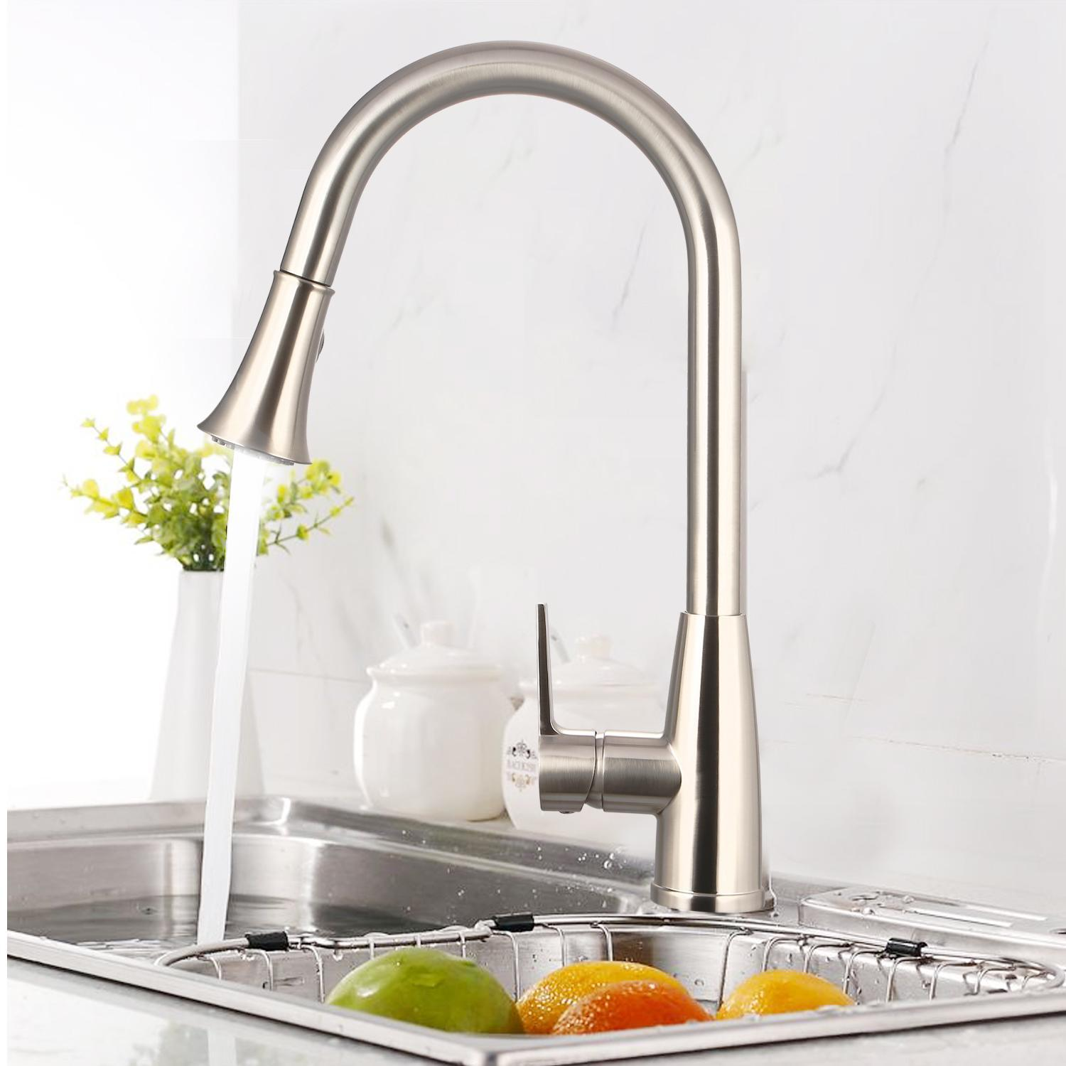 Single Handle Kitchen Tools Pull Out Faucets Stream Spray