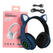 freestylehome Bluetooth 5.0 Headphone LED Flashing Light Headset Adorable Wireless Rechargeable Gaming Microphone Earphone, Blue
