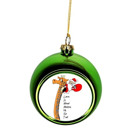 Love is What Makes Us So Tall Santa Claus on Giraffe Cute Quote Bauble Christmas Ornaments Green Bauble Tree Xmas Balls - Walmart.com