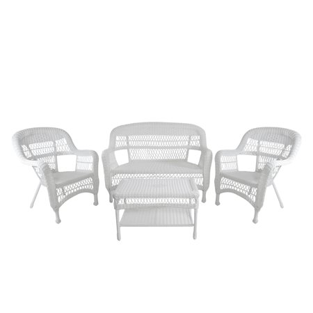 4 Piece White Steel Resin Wicker Outdoor Patio Furniture Set 51