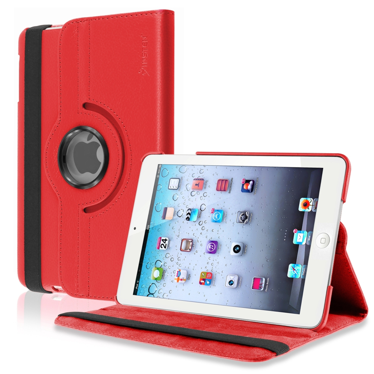 iPad Mini 3 / 2 / 1 Case, by Insten Red Rotating Leather Multi Angle View Stand Case for Apple iPad Mini 3rd 2nd 1st Gen