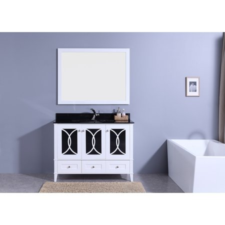 Legion Furniture 48 In Bathroom Vanity White With Tempered Gl Top And Mirror
