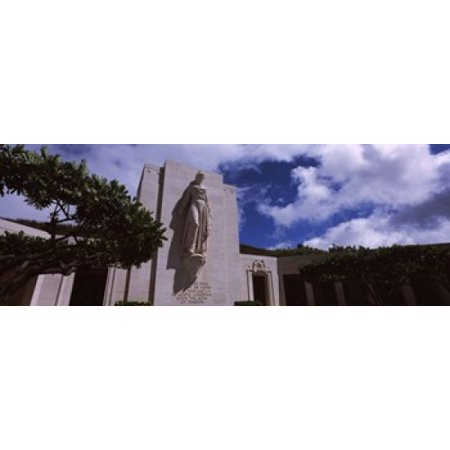 Low Angle View Of A Statue National Memorial Cemetery Of The Pacific Punchbowl Crater Honolulu Oahu Hawaii Usa Canvas Art   Panoramic Images  36 X 13